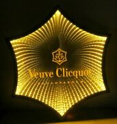 Veuve Clicquot Champagne 6 Point Lighted Shadowbox Infinity Mirror Sign Display