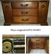 Vintage Wood Jewelry Chest Music Plays Love Story London Lather 8415 Japan