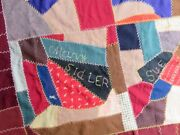 Antique Crazy Quilt Top Hand Pieced Embroidered Names 64x64 Flannel Feed Sack