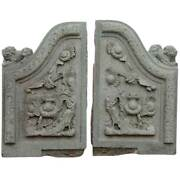 Pair Antique Chinese Qing Green Stone Architectural Building Carvings 19th C