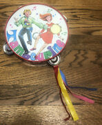 Vintage Toy Tin Litho Groovy Childrenand039s Tambourine Japan 7 3/4andrdquo 1960s 1970s