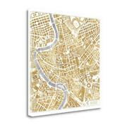 35 X 35 Gilded Rome Map By Laura Marshall Fine Art Giclee Print