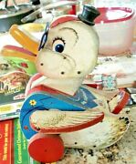 Vintage 1950's Fisher Price Dr. Doodle Duck Wooden Pull Toy 132 U.s.a.