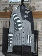 Denim And Supply 100 Cotton Gray Patchwork Flag Sweater Large