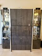 Contemporary Wall Unit Tv Entertainment Center Storage Cabinet Glass Piers