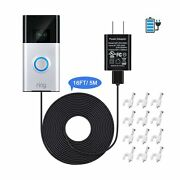 Power Adapter And 16 Ft/ 5 M Charge Cable Compatible With Ring Video Doorbell...