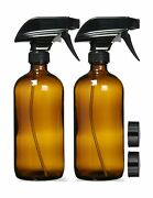 Empty Amber Glass Spray Bottles With Labels 2 Pack - 16oz Refillable Contai...