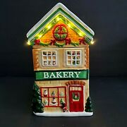 🎁 Christmas Village Bakery Light-up Cookie Jarpier 1led Lightsnew With Tags