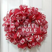 Christmas Wreath   Red And White Christmas Wreath   Large Christmas Wreath