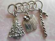 Sterling Silver 925 Christmas Brooch Pin W/ Tree Gift Candy Cane Charms 19c4