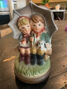 Vintage Hummel Style Figurine Boy And Girl Under Umbrella 7 Andfrac12andrdquo With Music