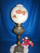 Vintage Brass Victorian Banquet Parlor Lamp W Hand Painted Ball Globe Shade 29