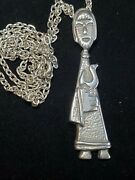 Vintage Sterling Silver Friar Monk Missionary Pendant Necklace 24g Religious