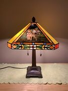 Rare Danbury Mint Hummel Stained Glass Table Lamp