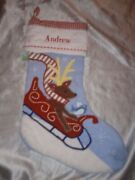 Pottery Barn Kids Christmas Stocking Personalized Name Andrew Reindeer On Sleigh