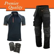Wrightfits Holster Work Trouser With Black Polo Shirt And Knee Pad - Work Men Deal
