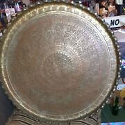 Large 30 Hammered Engraved Vintage Persian Brass Tray