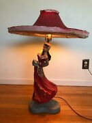 Mcm Reglor Of Calif – 1951 Chalkware Table Lamp – Gypsy Dancer Lady Red + Shade