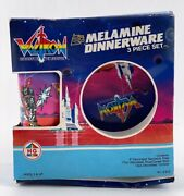 New Vintage 1984 Voltron Melamine Dinnerware 3 Piece Set - Cup Plate And Bowl