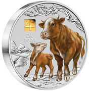 2021 Year Of The Ox 1 Kilo .9999 Silver Coin Australia With 1g Gold Privy Mark