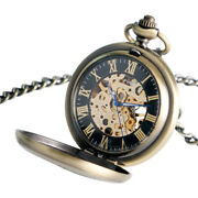Mens Skeleton Antique Mechanical Pocket Watch Hand Wind Fob Watches New