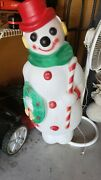 Christmas Outdoor Blow Mold Snowman 48 Wreath Candy Cane Empire 48and039 Frostyexcel