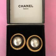 Pearl Earrings Round Gold Black Jewelry Vintage Rare Genuine From Japan