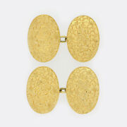 Gold Cufflinks- Antique Oval Engraved Chain Link Cufflinks 18ct Yellow Gold