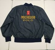 Vintage Michelob Beer Polo Bomber Jacket Size Large Navy Blue