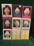 Lot Of 9 Precious Moments Porcelain Dated Ball Ornaments  1989 -1997 In Boxes