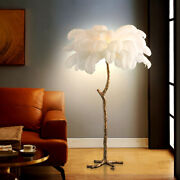 Modern Gold Copper Ostrich Feathers Floor Light Living Room Decor Standing Lamps