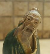 Antique Collectible Chinese Mudmen Detailed Face Fly Whisk 1890-1919 Rare Old