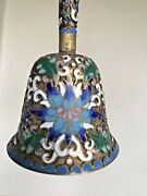 Vintage Antique Chinese Bell Champleve Enamel Cloisonne Floral Beautiful 4.5