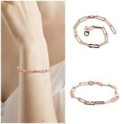 Original S925 Sterling Silver, Rose Gold, Link Chain And Stones Bracelet Clear