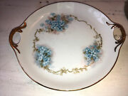 Hand Painted Signed Porcelain Plate Blue Flower Forget-me-nots 7andrdquo