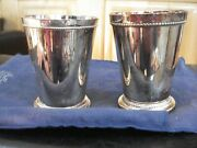Vintage Godinger Heavy Silver Plated Mint Julep Cup Double Braid Set 2