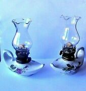 Vintage Pair Lot 2 Miniature Oil Lamps Aladdin Fairy Lamp Pink Roses Never Used