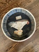 Vintage Primitive Paper Mache Candy Bowl Hand Painted Chicken/rooster Eggs.