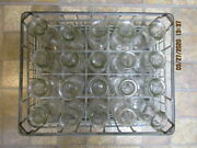 Vintage Half Pint Milk Cream Lot Of 20 With Galvanized Crate And Bottom Tray