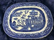 Vintage Blue Willow Serving Platter 15.5 X 12.5 Semi China