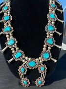 Vintage Squash Blossom, Sterling With Bisbee Turquoise Stones W/ Ear Rings