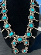 Vintage Squash Blossom Sterling With Bisbee Turquoise Stones W/ Ear Rings