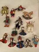 Lot Of 14 Beautiful Old Russian Handmade Collectible Dolls/christmas Ornaments
