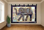Vintage Large Curtain Elephant Wall Hanging Tribal Embroidery Patchwork Tapestry