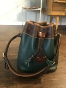 Vintage Dooney And Bourke Purse Handbag Bucket Forest Green Brown Tan