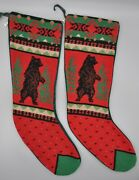 Midwest Cannon Falls Christmas Stockings Bear Rustic Needlepoint Lot Of 2