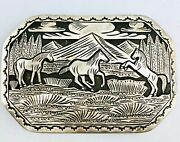 Detailed Sterling Silver Overlay Horse Themed Belt Buckle