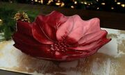 Princess House Red Holiday Poinsettia Bowl 14d