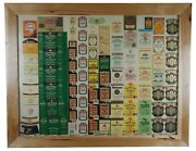 Mid Century Liquor Label Samples Sheet Collage Whiskey Tequila Hickory Frame Bar