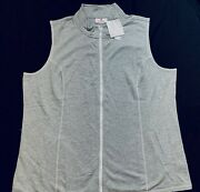 Quacker Factory New Heather Gray Vest Crystal Zipper New W/ Tags Extra Large Xl